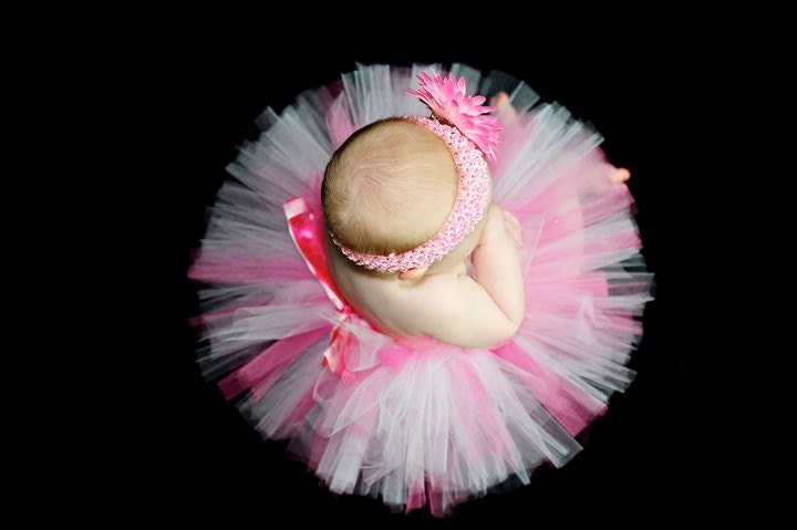 MY FIRST TUTU with Matching Headband....Great for newborn photos, 1st Birthday or Shower gift