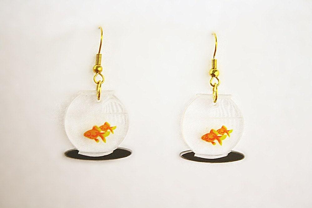 Kitsch Goldfish fish bowls pet earrings (pick one pair)