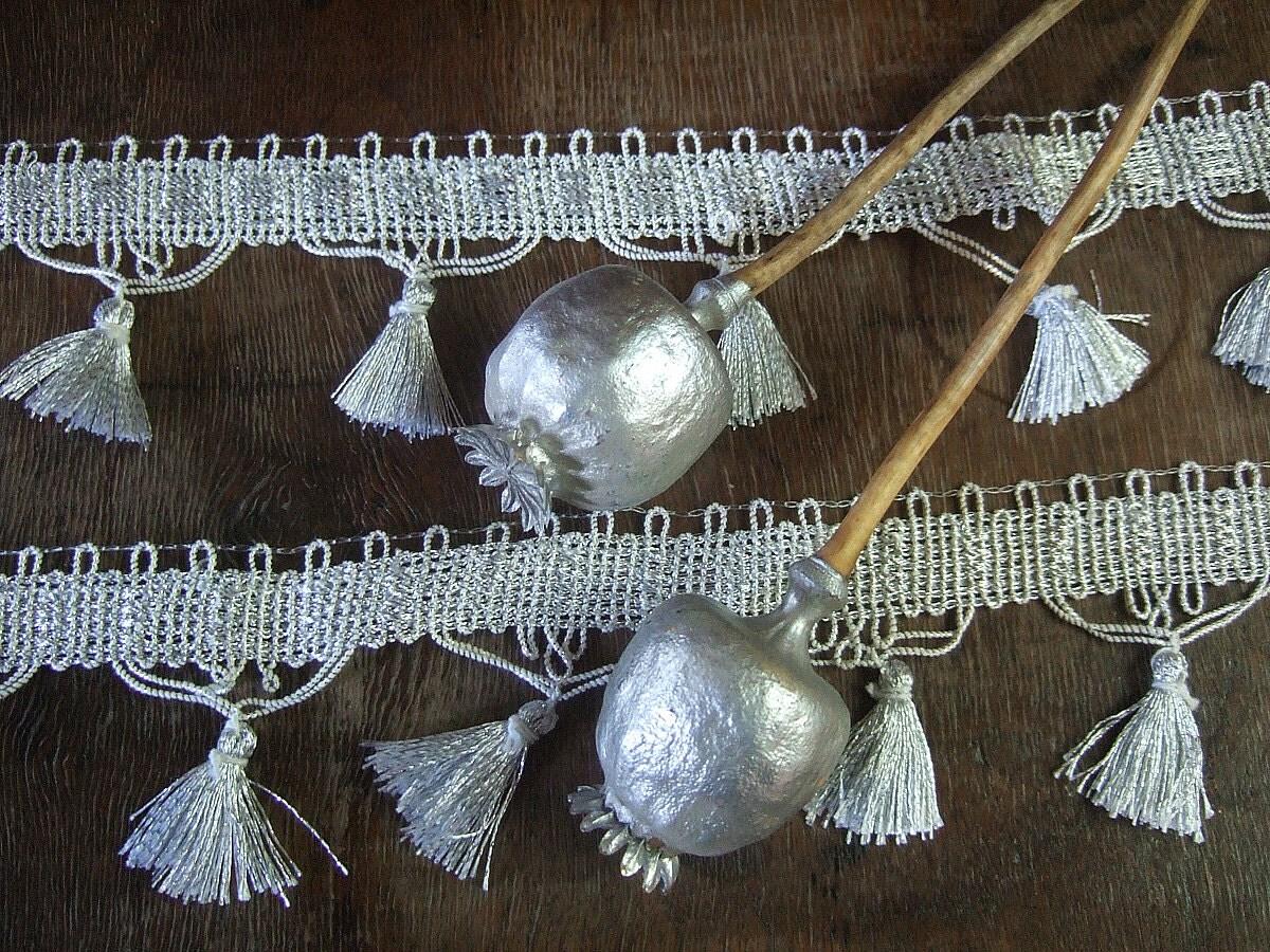 Silver fringe tape, silver tassel sewing tape, silver grey fringe trim - ADYALI