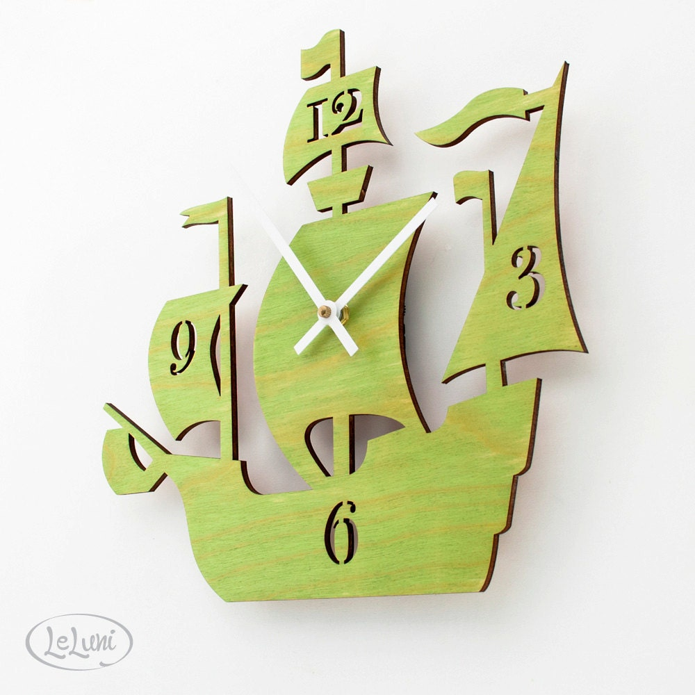 "The ""Dread Pirate Roberts"" in Lime Green, a designer wall mounted clock from LeLuni - LeLuni"