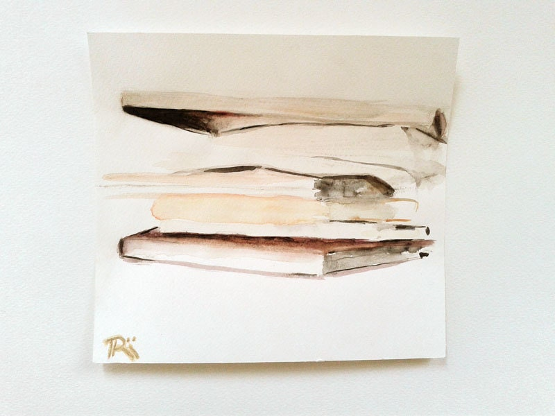 "Stack of books, delicate balance, translucency. Abstract watercolor painting. Pastel yellow, white, beige. Minimal geometric art. 8""x8.5"" - RhymingScapes"