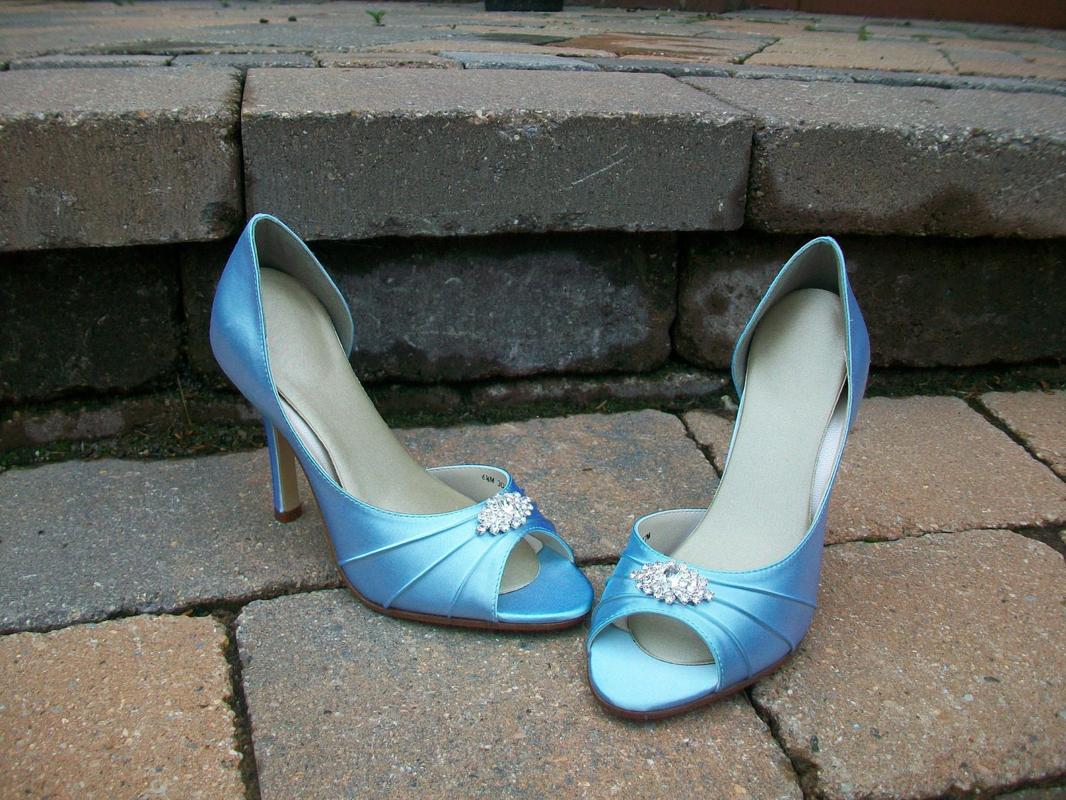 Baby Blue 3.5 Heel  Satin Shoes With Rhinestones Available In Over 100 Colors To Choose From