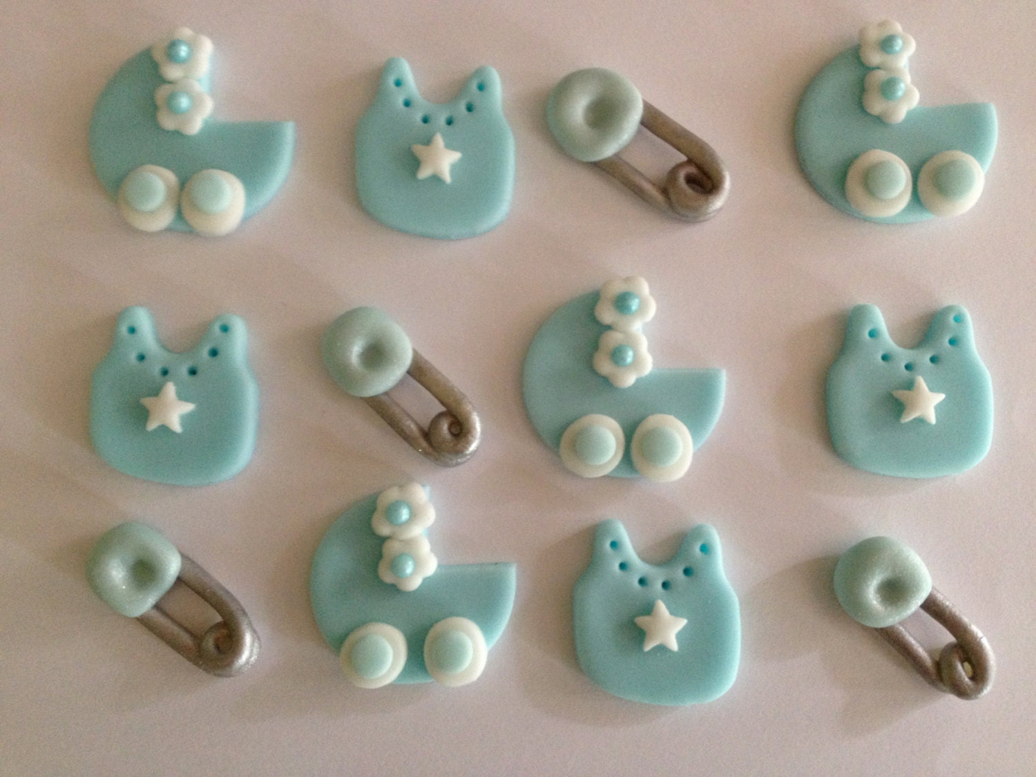 Items similar to edible fondant boy baby shower cupcake for Baby shower cupcake decoration