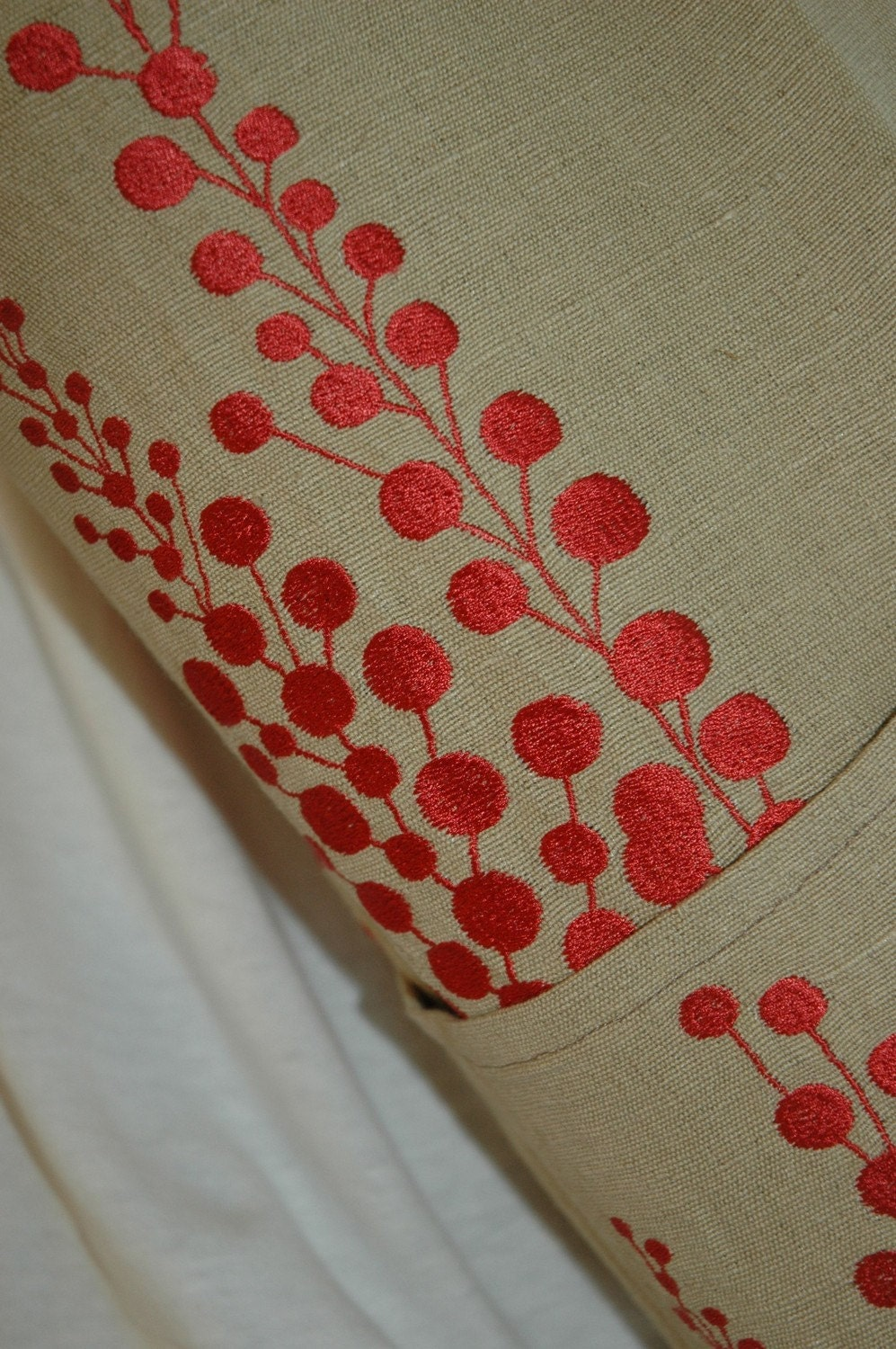 NEW Yoga bag Embroidered red flower linen