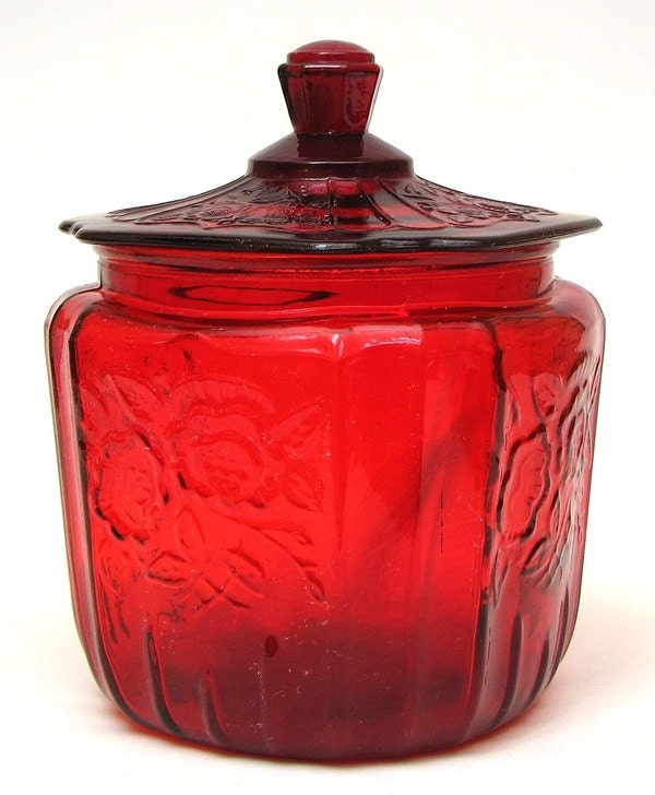 Red  Depression Era Glass Cookie Jar - mylilnycshop
