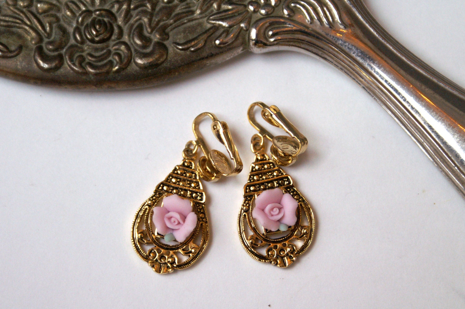 rose and gold dangle clip on earrings