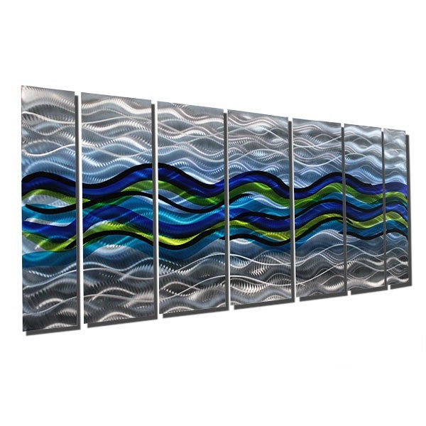 items similar to metal abstract wall art decor blue green. Black Bedroom Furniture Sets. Home Design Ideas