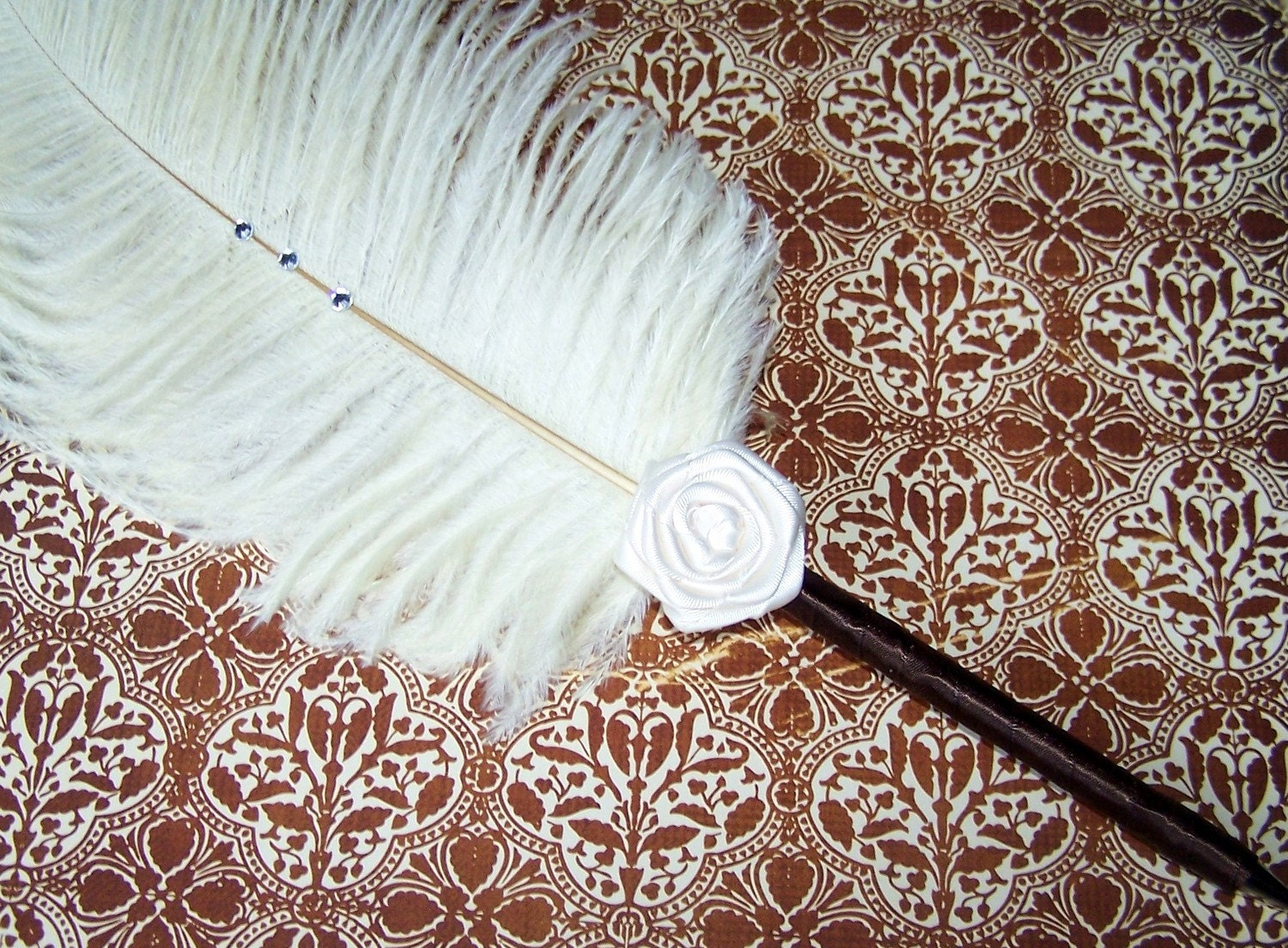 Feather Pen Rosette Style - Brown and Ivory, Custom colors available