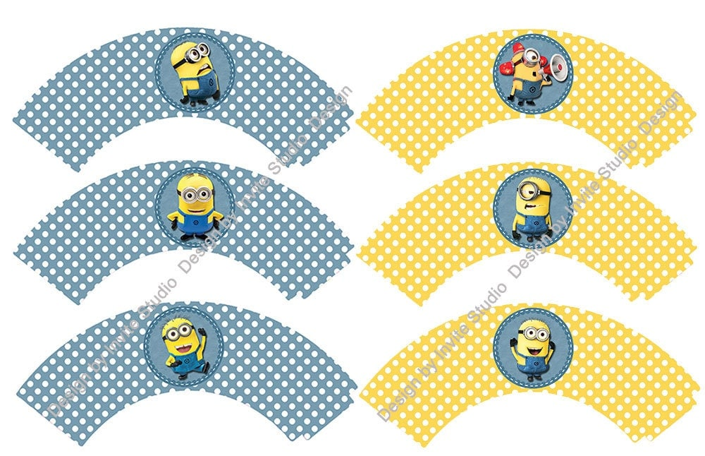 24pcslot Minion Party Paper Cupcake Wrappers Toppers For