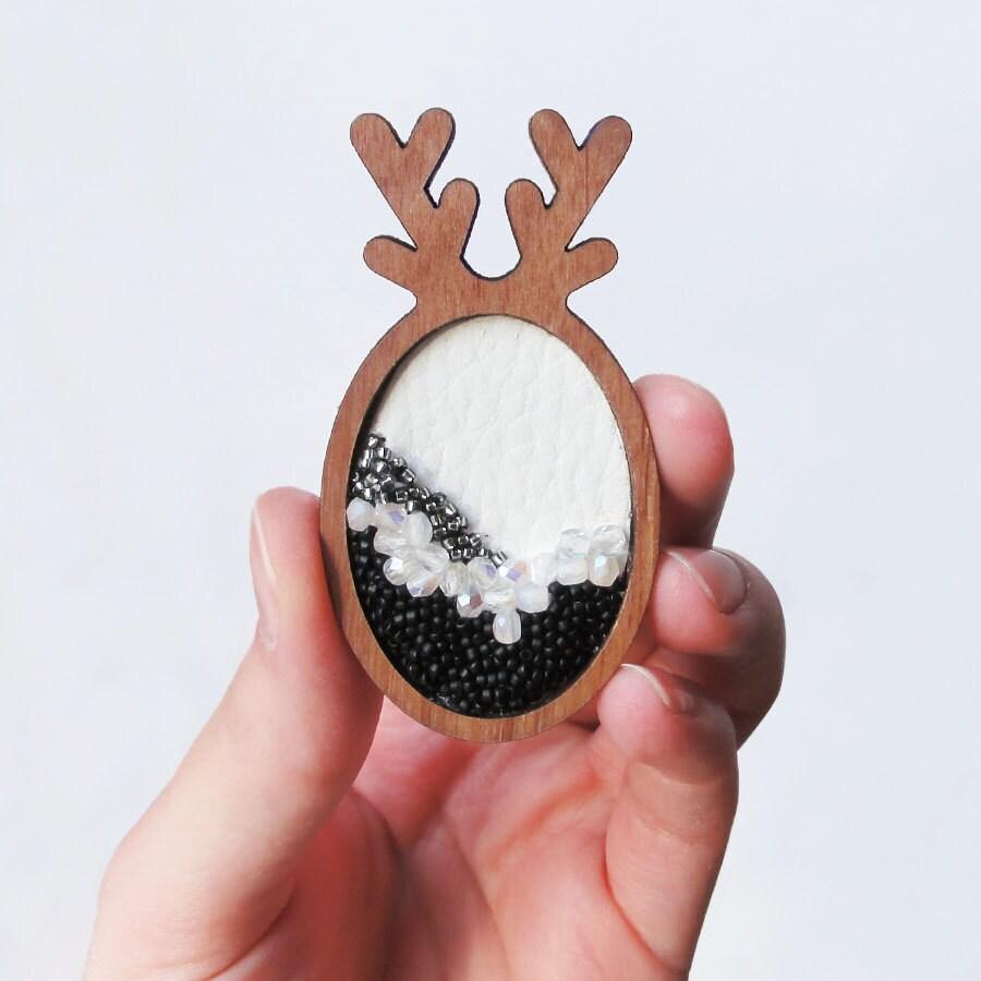 Wooden brooch, wooden laser cut base, handmade jewelry, czech edged glass beads, original deer shape, handcrafted brooch - frappante
