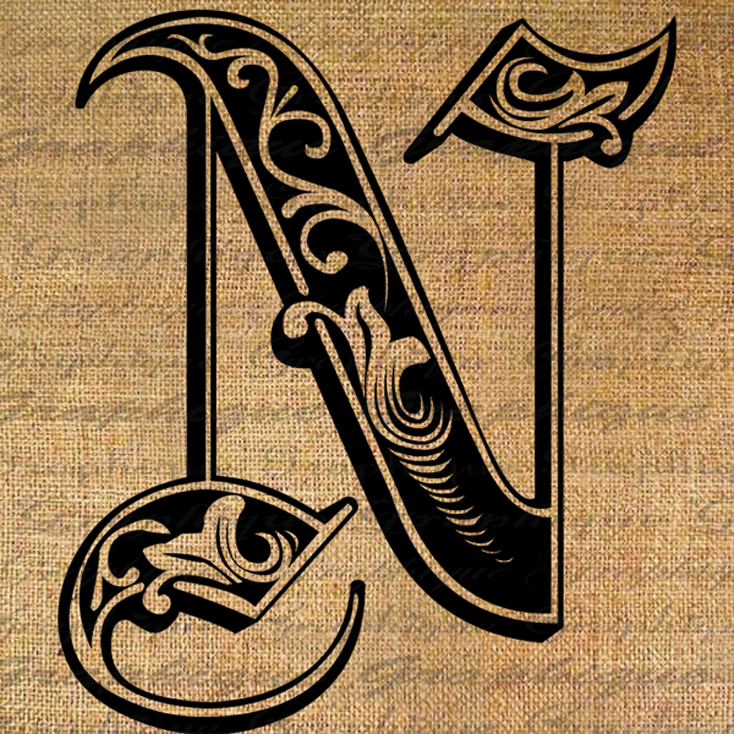 Letter Initial N Monogram Old Engraving Style Type By