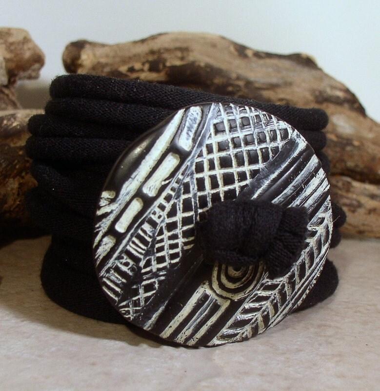 Wrap Bracelet - Tribal Pattern Design - Button Clasp - Fabric Wrap - Easy Wear