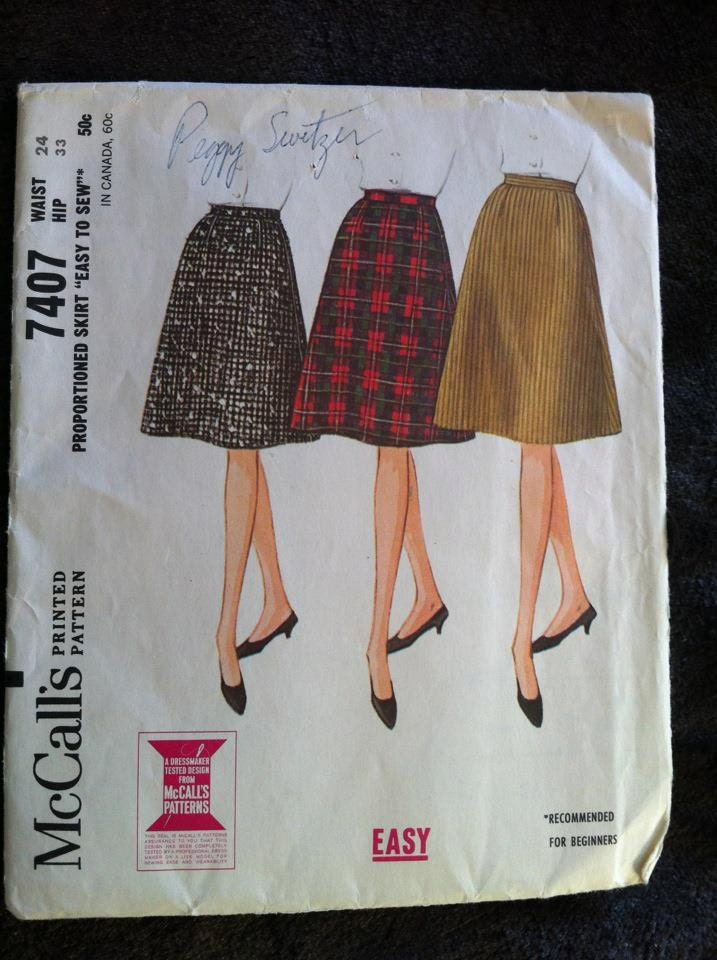 1964 mccall s easy a line skirt pattern in three by