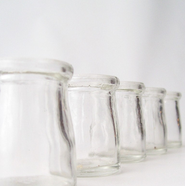 vintage clear glass bottles apothecary home decor lot of 5 small jars