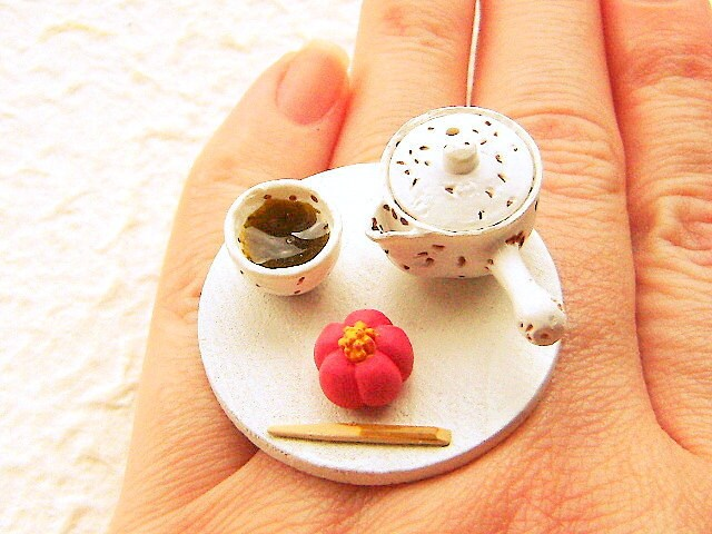 Traditional Japanese Food Ring  Green Tea Wagashi Miniature Food Jewelry