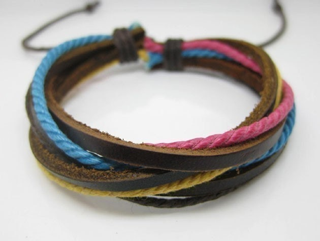 Multi-colored cotton ropes brown leather bracelet