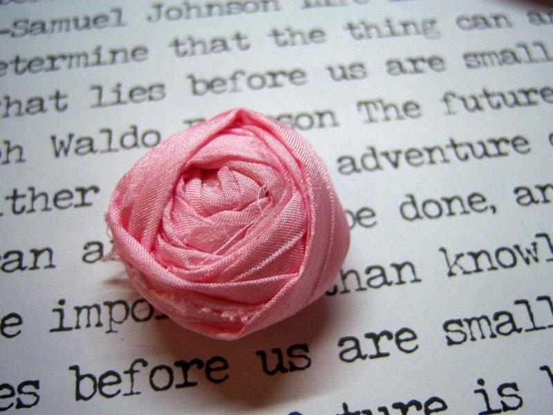Medium Rolled Silk Flower-Baby Pink