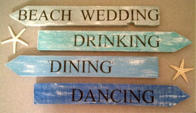 BEACH WEDDING SIGNS 8pc Set MADE TO ORDER IN YOUR COLORS shabby Chic
