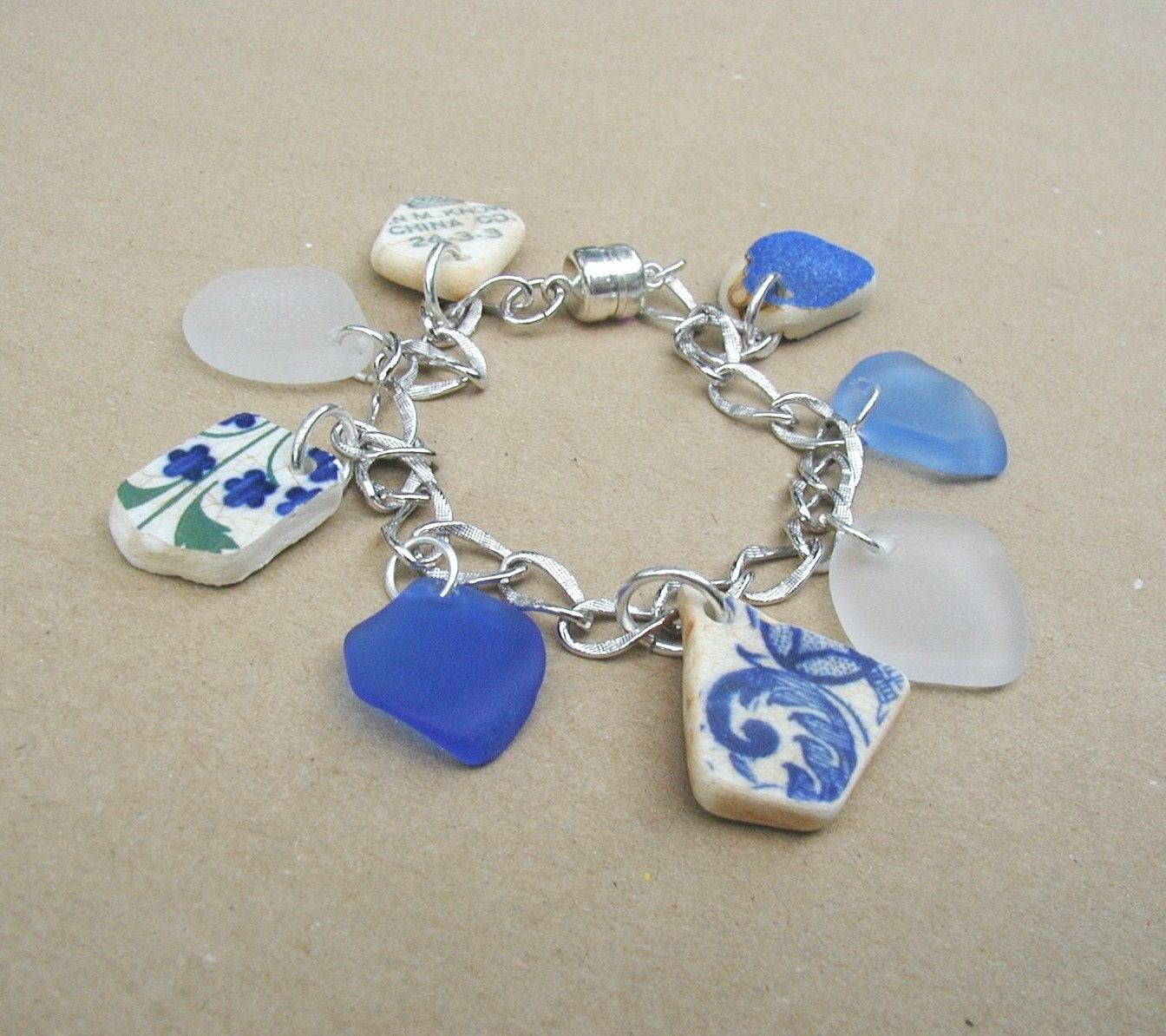 Lucky Charms - Cobalt Blue Sea Glass and Vintage Pottery Charm Bracelet