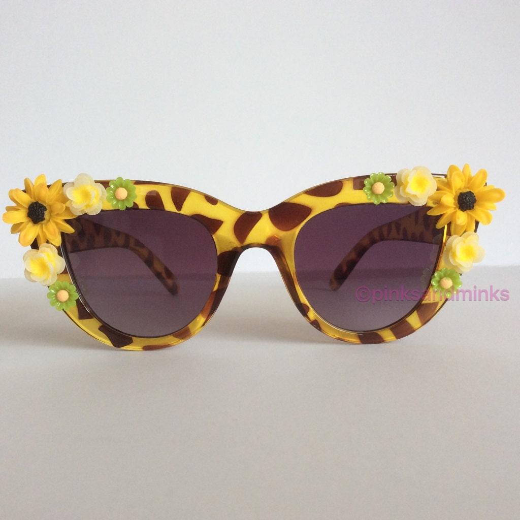 Olive Grove  FLAT LENS Translucent Olive Leopard Cat Eye Embellished Sunglasses Yellow Green Flowers