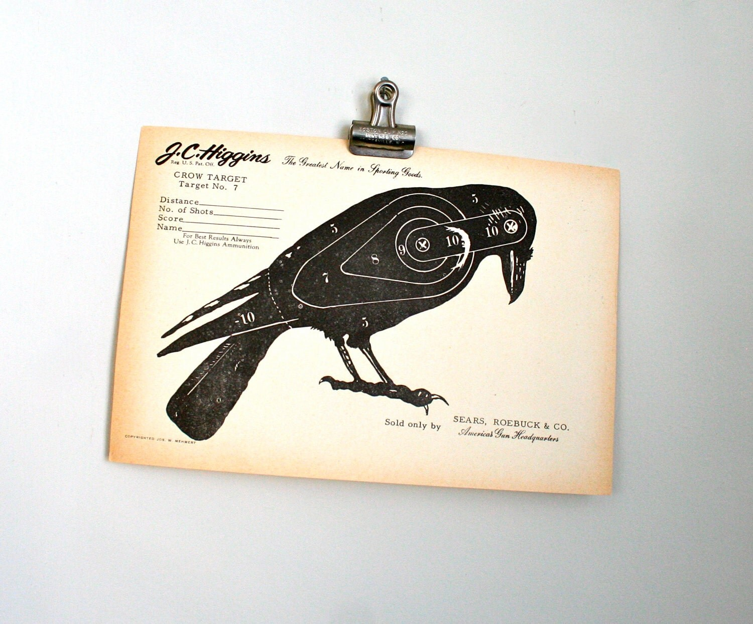 halloween decor - vintage paper shooting target - crow