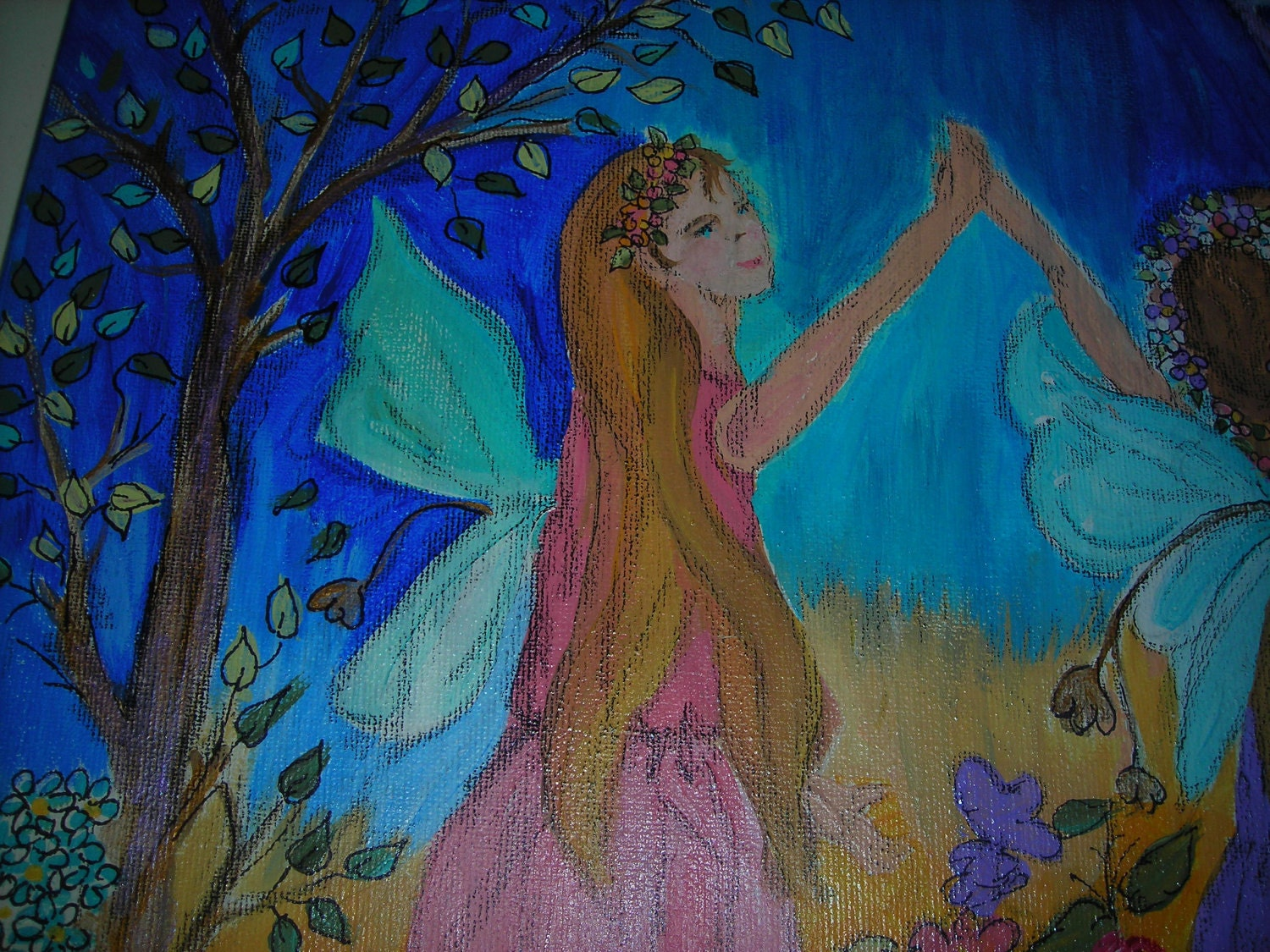 Original Acrylic Painting 20x16 Children's Painting Kids wall Art of Dance of the Fairies