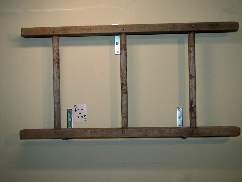 Rustic antique wooden bookshelf ladder by naturallycre8tive