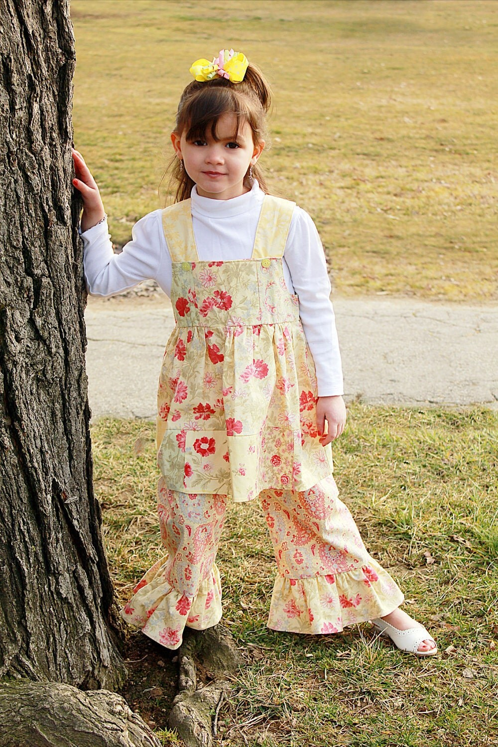 2Pc Sundress Summer Outfit, Shabby Chic, Yellow, Infant,Toddler,