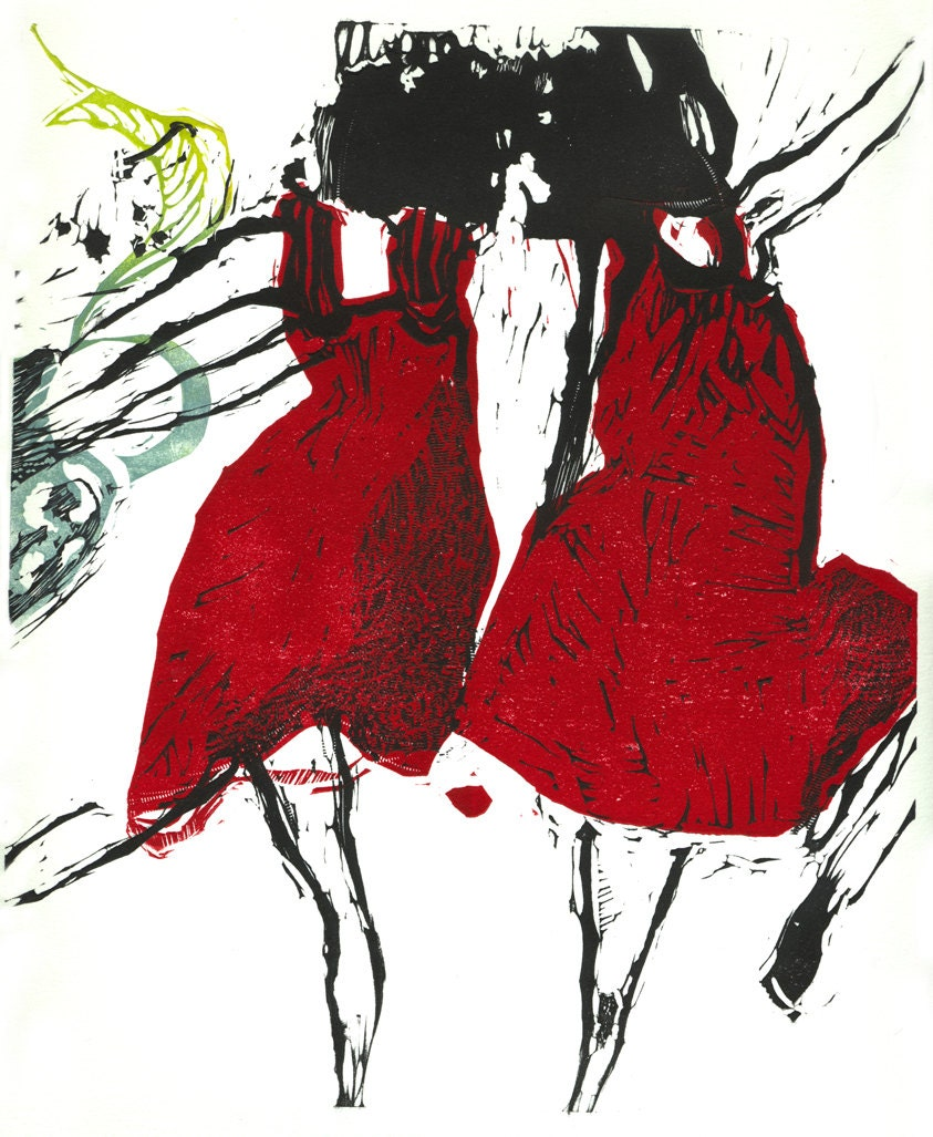 Dancers VII, hand pulled, original linocut print by Marta Wakula-Mac