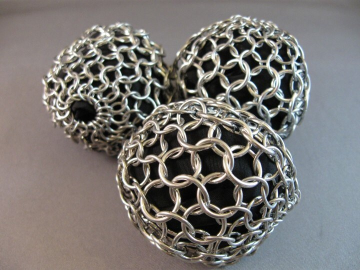 Chain Maille Stress Balls, Hackey Sacks, Juggling Balls (Set of Three in Black)