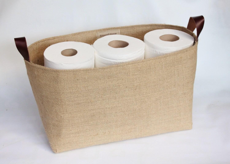 Hessian Burlap Toilet Roll Storage Basket Bucket Eco  Rustic Jute Storage  UK  Bathroom Nursery Shelf Basket Tidy Organiser