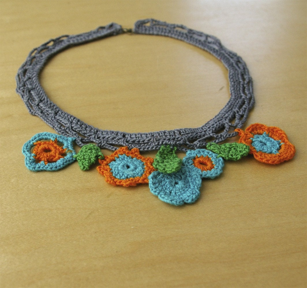 Violet Lace and Flowers Crochet Necklace