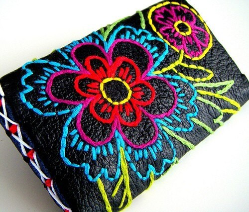 Ready to Ship Wallet Black Leather Embroidery Vivid Floral Bright Colorful handmade by sewZinski on Etsy