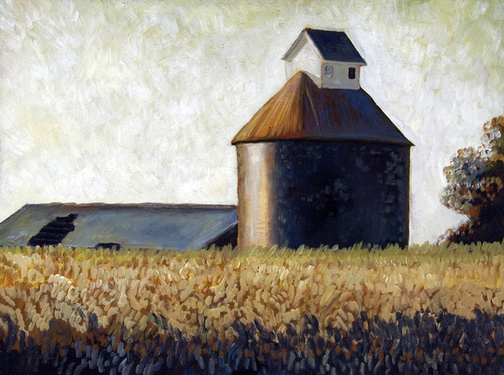 Midwestern Barn and Vintage Grain Silo At Harvest Time