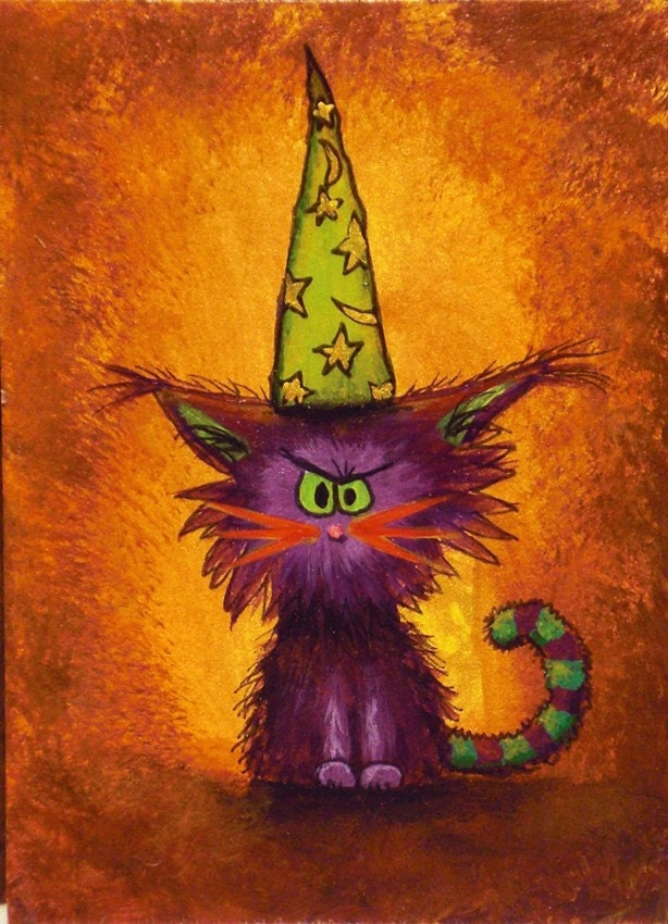 Cranky Wizard Kitty ACEO