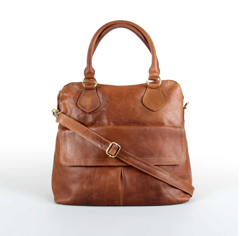 Leather Handbag Tote Bag Purse Tan
