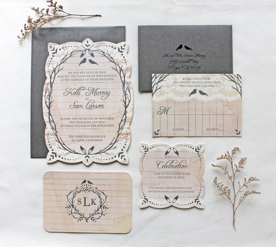 Etsy Vintage Wedding Invitation