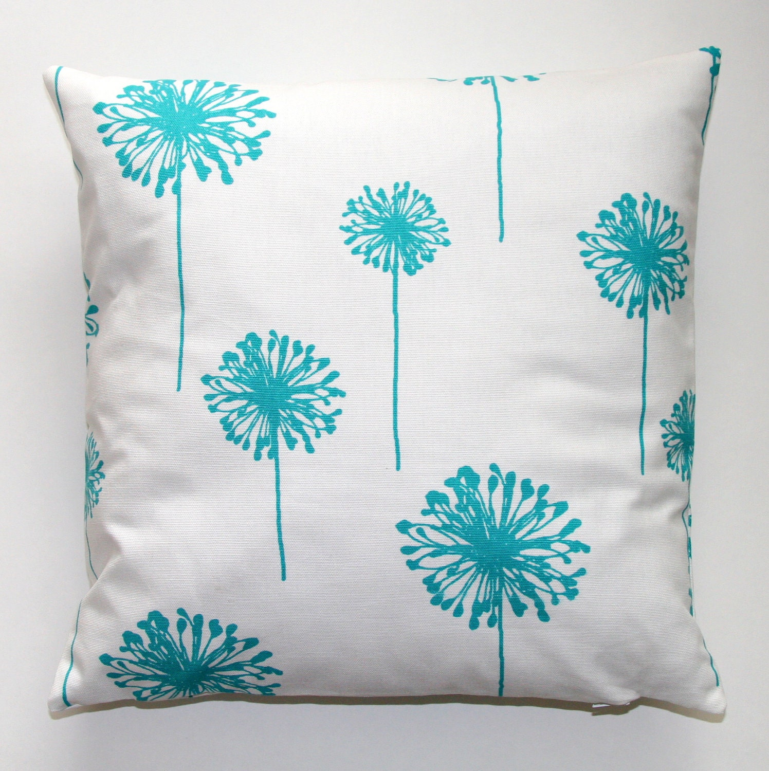 Turquoise Dandelion Pillow Cover- 16x16 inches- Zipper Closure
