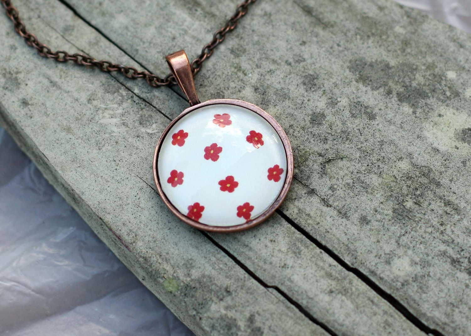 Tan and Red Flower Necklace Pendant