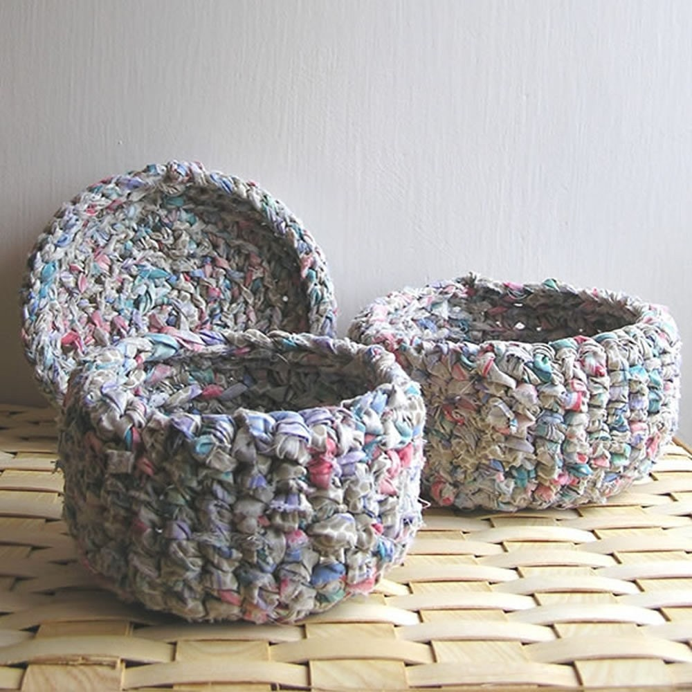 Spumone Crochet Recycled Cotton Rag Bowl Set