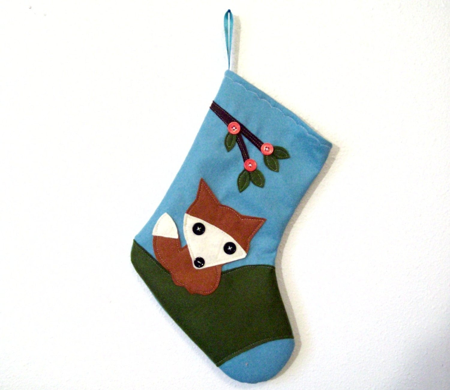 Cute Retro Fox Christmas Stocking Aqua Blue