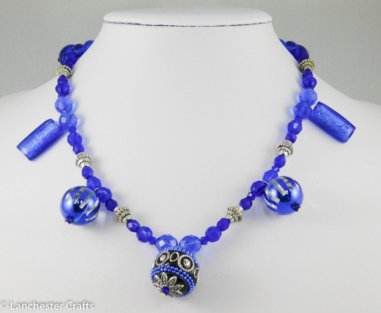 Sapphire Blue Beaded Drop Necklace and Earrings  Handmade  Glass Beads Metal Beads Swarovski Crystal beads