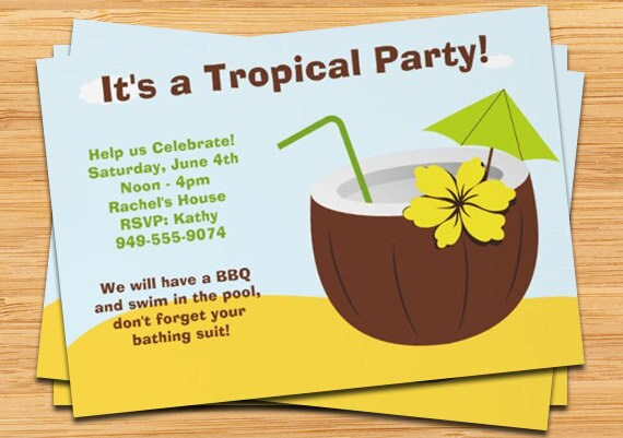 Similiar Tropical Party Invitations Keywords – Tropical Birthday Invitations