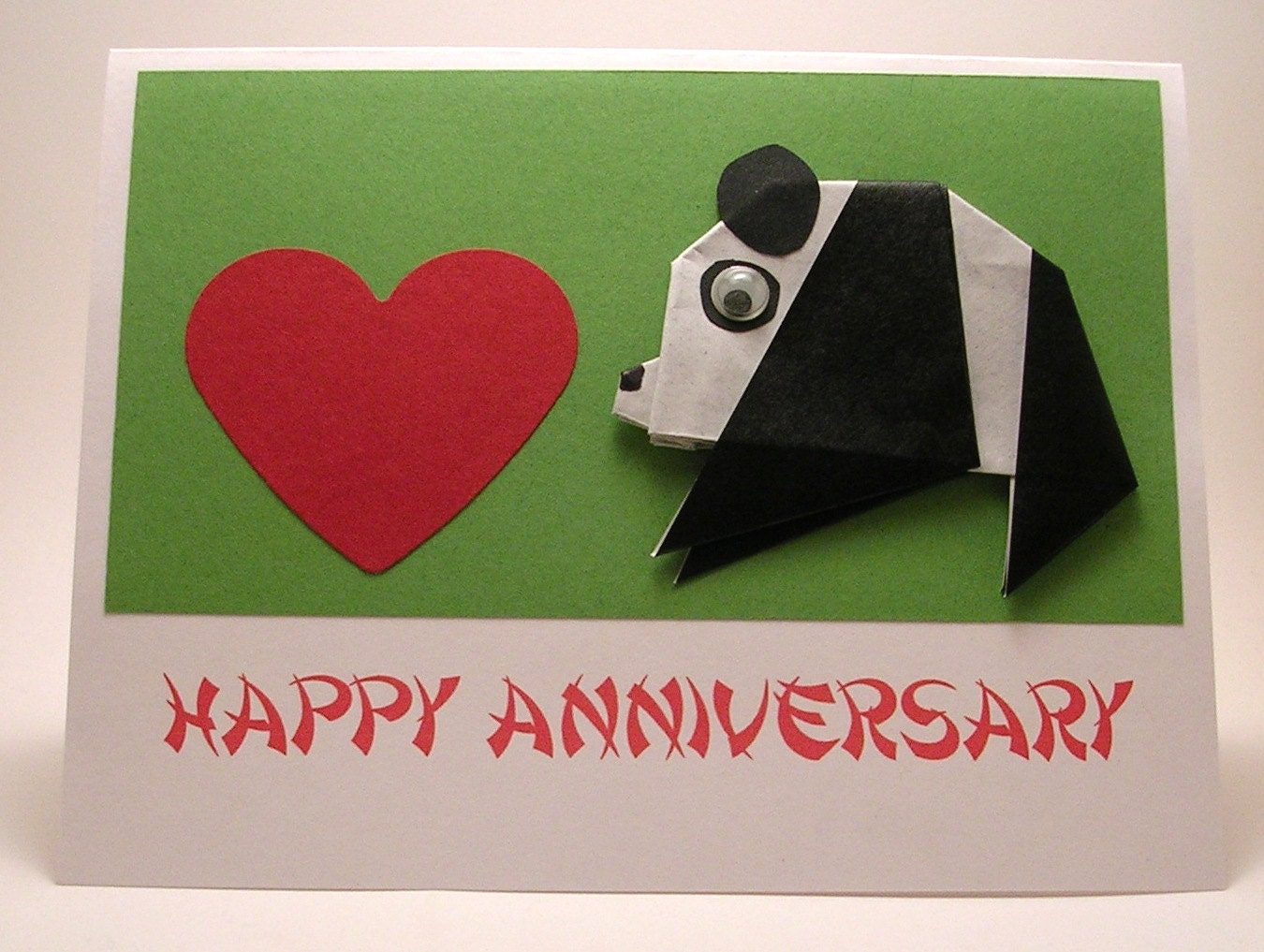 Origami panda anniversary card by kittykatkards on etsy