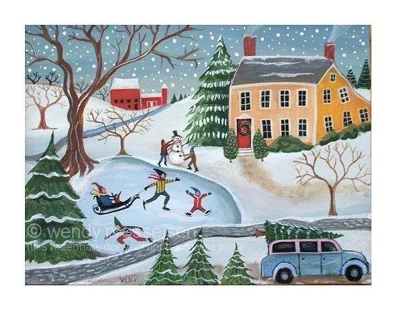 CHRISTMAS LANDSCAPE FOLK ART PRINT Snowman Sled Xmas Tree Skaters FUN WINTER SCENE Signed Wendy Presseisen -- 11 X 14 -