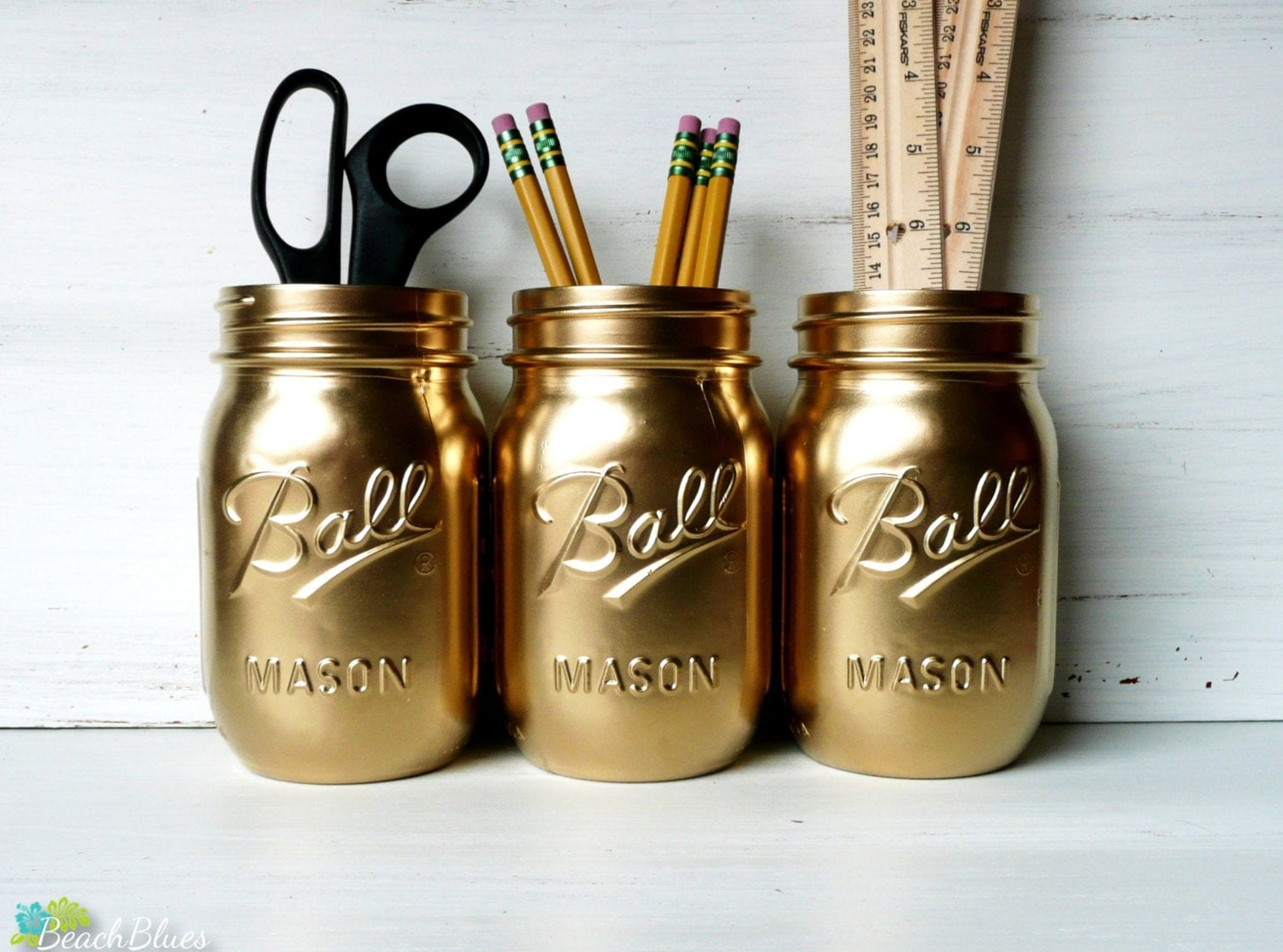 Dorm Decor - Gold Painted Ball Mason Jars - Vase - Office Utensil Holders - Vase - BeachBlues