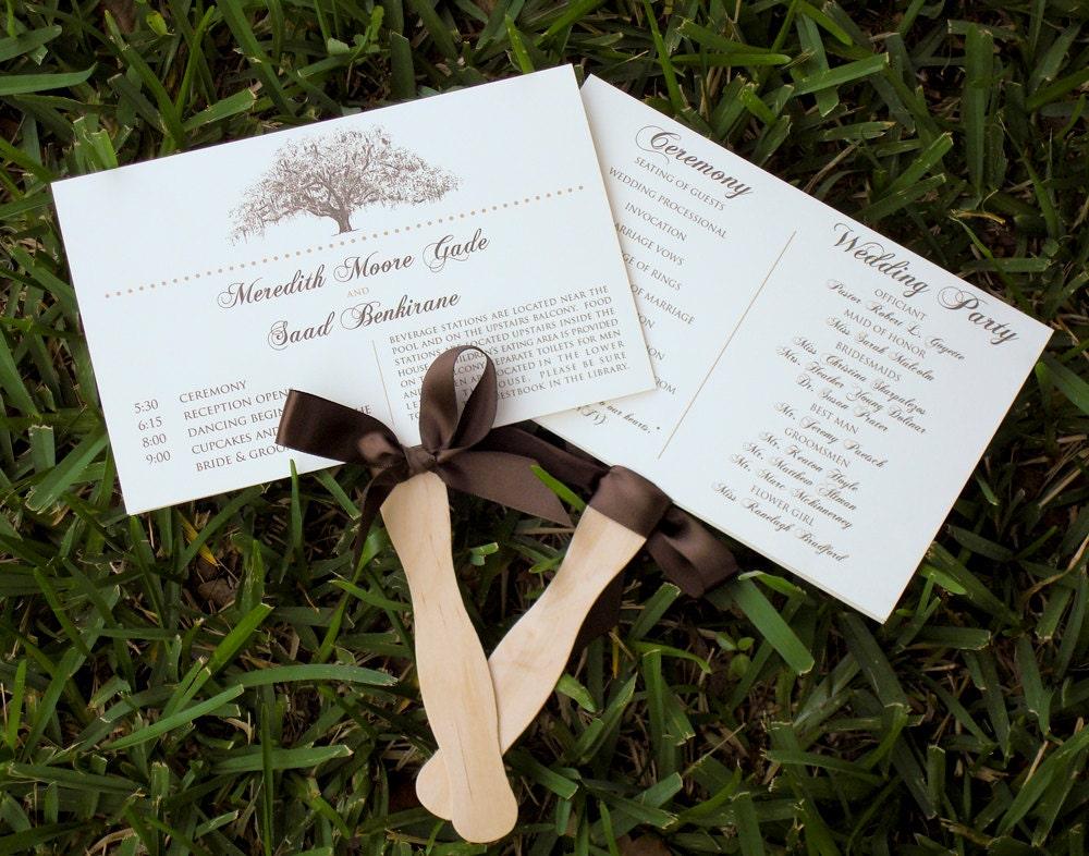 rustic oak tree wedding program fans by theinklab on etsy
