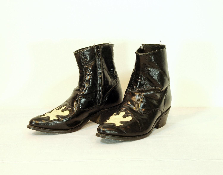 Black leather cowboy boots white ostrich by carnivalofthemaniac