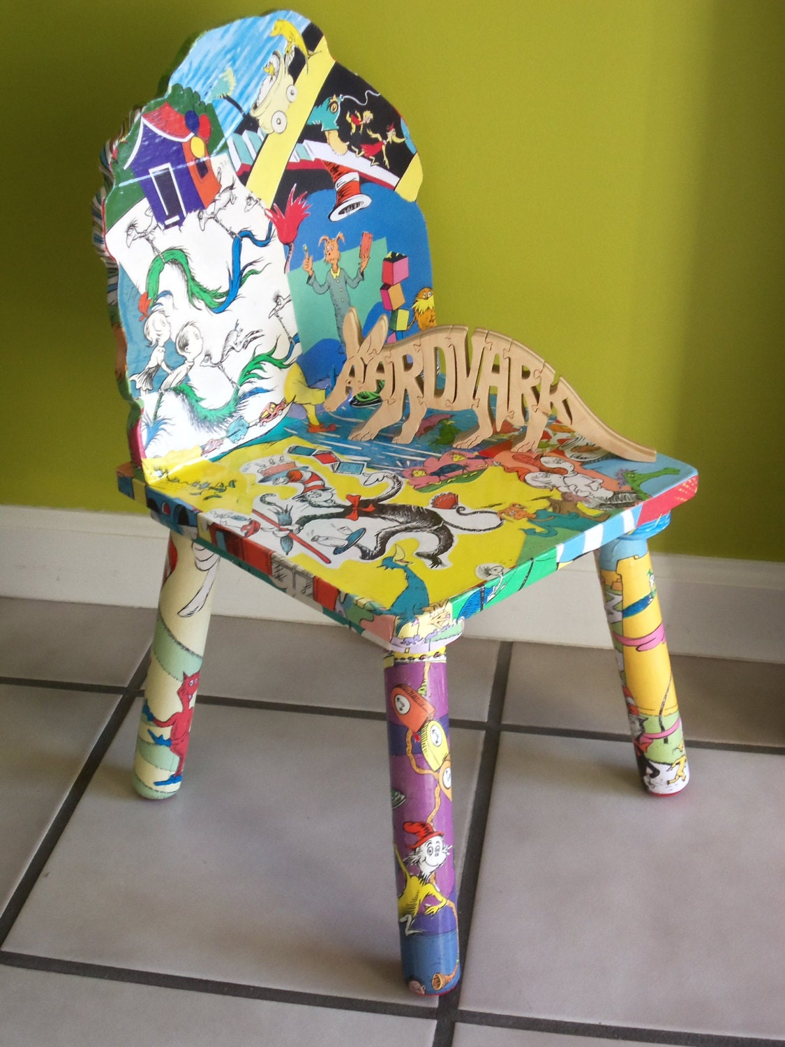 CUSTOM ORDER Dr. S Inspired Decoupaged Wood Child's Windsor Chair