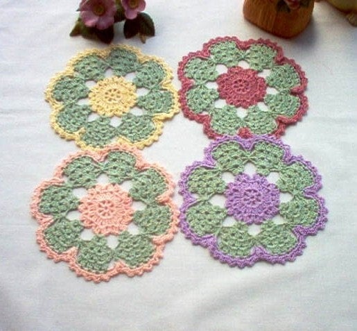 Doily Spring Flower Coasters Trinket DoiliesCrochet Thread Art
